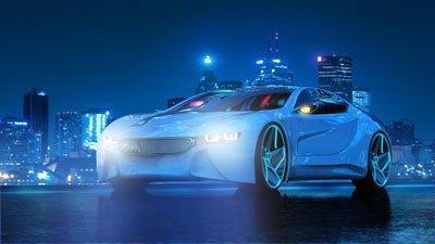 sportwagen bei nacht